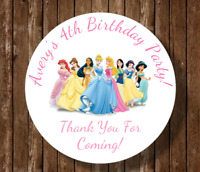 30 Disney princess birthday party stickers,labels,shower,tags,favors,lollipops