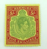 .BERMUDA KGVI 1930s 118 5/- MNH STAMP. WELL CENTERED, GOOD COLOUR & GRADE.