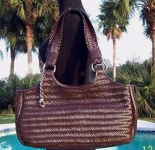 Donald J Pliner Woven Leather Purse Handbag New Double Straps Shopper Tote $595