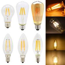 Filamentos Bombillas LED regulable E14 E27 2W 4W 6W Blanco Cálido Luces Retro AC220-240V
