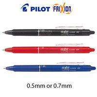 Pilot FriXion CLICKER Erasable Rollerball Pen 0.7mm, 0.5mm Black, Blue, Red