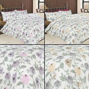 Felicity Classic Floral Print Reversible Duvet Cover Set In Heather or Natural