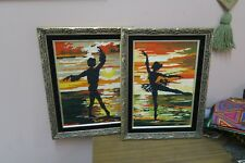 "Set @ 2 Vintage Finished Stitched Needlepoint 9"" x 13"" - 12"" x 16"" Framed"