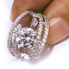 5.18ct D-h:Color vvs1/Great White Engagement Gorgeours .925 Silver Ring size 7
