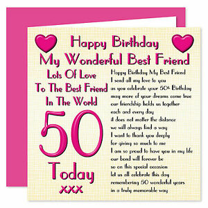 My Wonderful Best Friend Lots Of Love Happy Birthday Card - Ages 16 - 100 Years