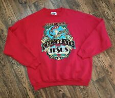 VTG 90s Lee 50/50 Christmas Crewneck Sweatshirt Ugly Sweater Mens L Jesus Season