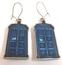 DOCTOR WHO TARDIS EARRINGS PEWTER BRAND NEW GREAT GIFT OFFICIAL