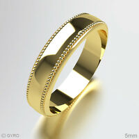 Millgrain Patterned Wedding Ring 9ct Yellow Gold Band Heavy All Sizes and Widths