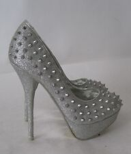 "new Silver Spike 6""Stiletto Heel 1.5""Platform Round Toe Sexy Shoes Size 6"