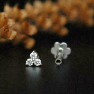 0.15 Ct Round Cut Diamond 3 Stone Stud Nose Pin 14k White Gold Over Women's