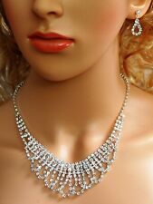 SC Bridal Crystal Necklace Earrings Set Prom Wedding Pageant Jewelry N1Y9