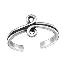 Tjs 925 Sterling Silver Toe Ring Spiral Infinity Design Adjustable Oxidised