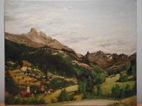 Tableau montagne peinture village Les Allues savoie Alpes Vanoise Tarentaise