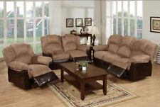 3 PC Brown Poundex Saddle Microfiber Bonded Leather Recliner  Reclining Sofa Set