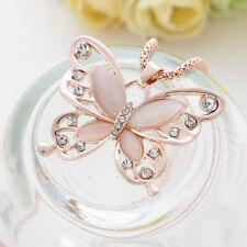 1PC Crystal Opal Butterfly Pendant Long Sweater Necklace Women Jewelry Gift