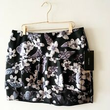 ZARA Black Silver Faux Leather Skirt Short Ruffle Floral Party Autumn L12 14