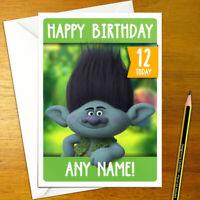BRANCH Personalised Birthday Card - large a5 trolls troll movie princess poppy
