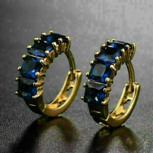 Gorgeous Engagement Huggie Hoop Earrings 4.45 Ct Sapphire 14K Yellow Gold Over