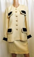 Alberto Makali Original Two Piece Vintage Suit Size 10 Cream Color Pearl Buttons
