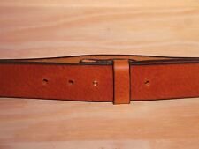 Dark Tan Leather Belt Strap 2 Inch Wide (50mm) Waist Size No Buckle Snap On