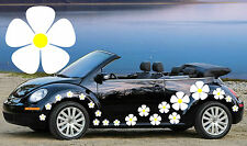 32,WHITE PANSY CAR DECALS WITH YELLOW CENTERS,STICKERS,GRAPHICS,BEETLE