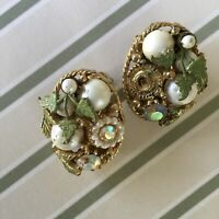Vintage Gold Tone Rhinestone Clip On Earrings Leaf Faux Pearl
