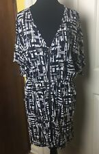 mark. by Avon Women's Black Printed Dolman Sleeve Zip Front Dress  - Size S