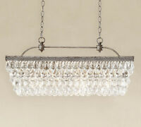 "NEW IN BOX Pottery Barn $899 CLARISSA Crystal Drop 30"" Rectangular Chandelier"