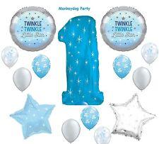 14 pc TWINKLE little STAR  BOY BALLOON new VHTF BLUE silver 1st BIRTHDAY FIRST