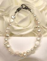 White Freshwater Pearl Medical ID Alert Replacement Bracelet! (MA064)