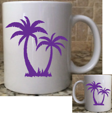 Polymer Unbreakable Plastic Camping Coffee Mug Cup 11oz 2 Palm Trees Purple New
