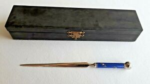 Antique silver & guilloche enamel Letter Opener 1900 with box. Perfect