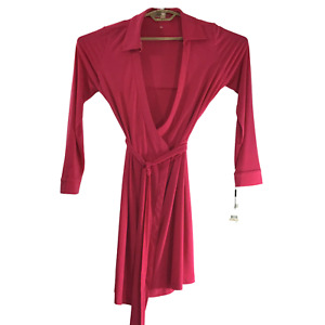 NWT Calvin Klein  Pink Tailored Long Belted Long Sleeve Robe Size 12