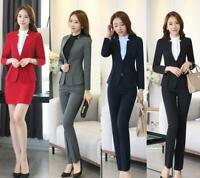 Work Formal Business Office Ladies Collar Pants/Skirts Suit Ruffle Blazers Ths01