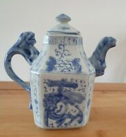 Vintage Chinese Blue And White Miniature Porcelain Dragon Tea Pot