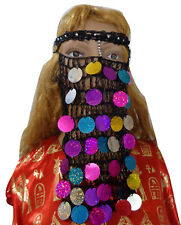 Belly Dance Costume Head Band Coins Face Mask Bedouin Burka Burka Borqa 411
