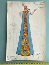 RUSSIAN AVANT-GARDE THEATRE COSTUME SKETCH PAINTING NG GONTCHAROVA