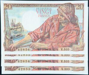 4x Billets de 20 Francs « Pêcheur » France numéros consécutifs 1943 SC+ / UNC+