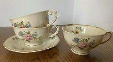 Syracuse Portland Federal Shape China 3 Footed Tea Cups 1 Saucer Floral