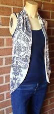 Grass Jeans Collection Easy Breezy Knit Sweater Vest Duster $44 White Gray S/M