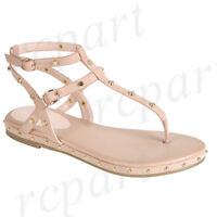 New women's shoes sandal t strap studs dress summer comfort beach Dusty Pink