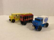 Mister Rogers Neighborhood Wooden Trolley, School Bus Speedy Delivery Truck 2004