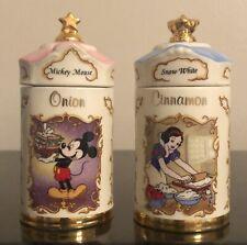 "Disney 1995 Lenox Mickey Mouse ONION & Snow White CINNAMON 4"" Spice Jars"