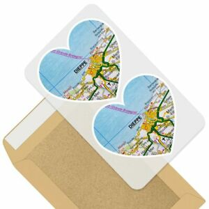 2 x Heart Stickers 7.5 cm - Dieppe Port France French Travel Map  #44881