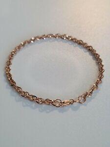 9ct Rose Gold 60 Diamond Cut Prince of Wales Bracelet 19cm/7.5'