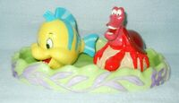 DISNEY Sebastian & Flounder SALT & PEPPER Set w/TRAY * Porcelain LIMITED EDT
