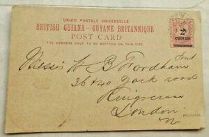 BRITISH GUIANA 1893 2 CENTS ON 3 CENTS POSTAL STATIONERY CARD + MEDICAL CACHET
