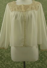 Vintage 50s Vanity Fair Size Large Ivory Bed Jacket Ecru Lace Trim 2 Button Usa