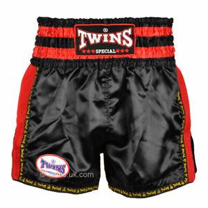 Twins TWS-922 Plain Retro Muay Thai Shorts Black Red Kickboxing Striking K1