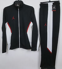 NIKE JORDAN DRI-FIT WARM UP SUIT JACKET + PANTS BLACK RED NEW (SZ SMALL X-SMALL)